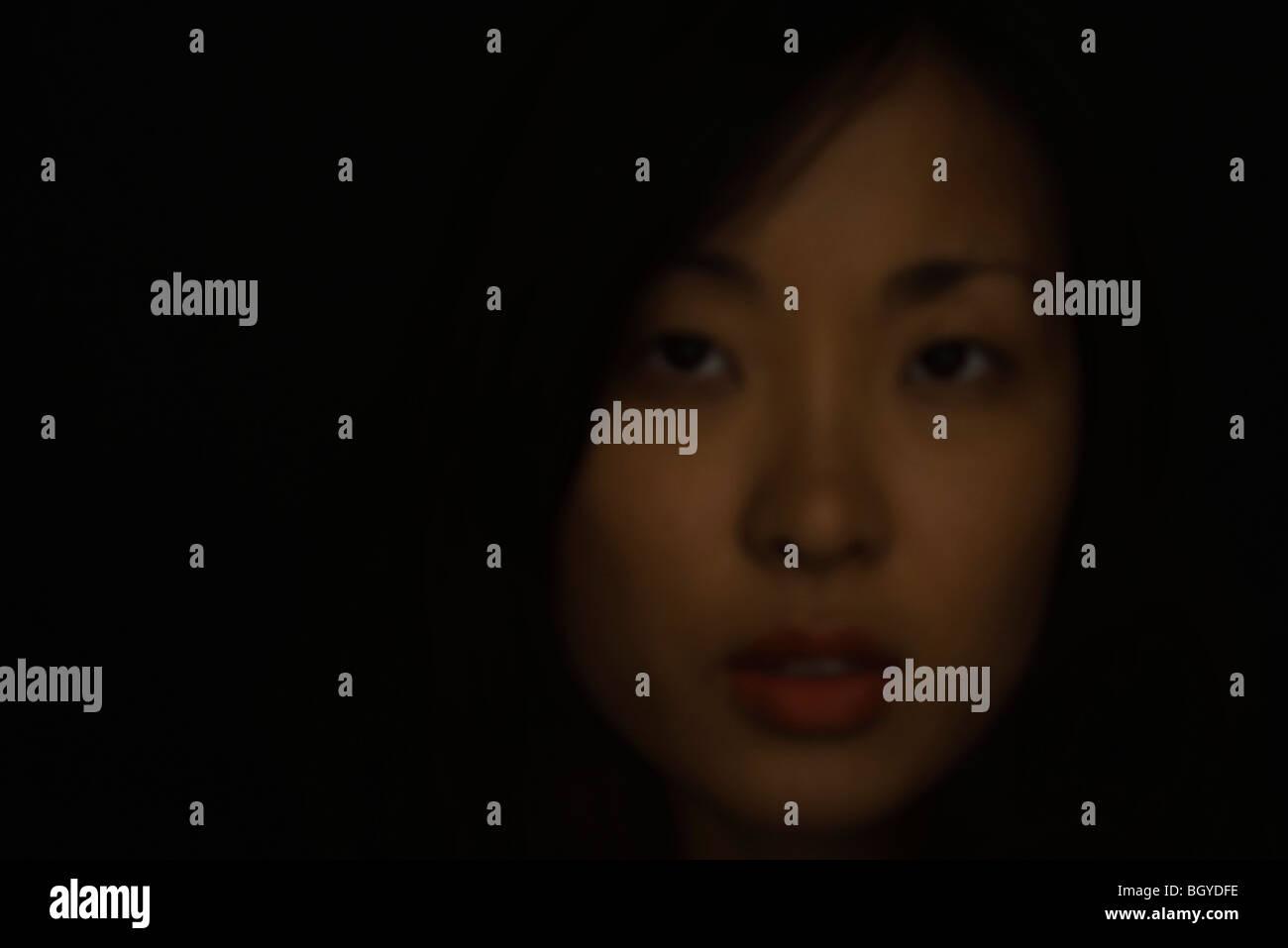Woman in soft focus, portrait - Stock Image