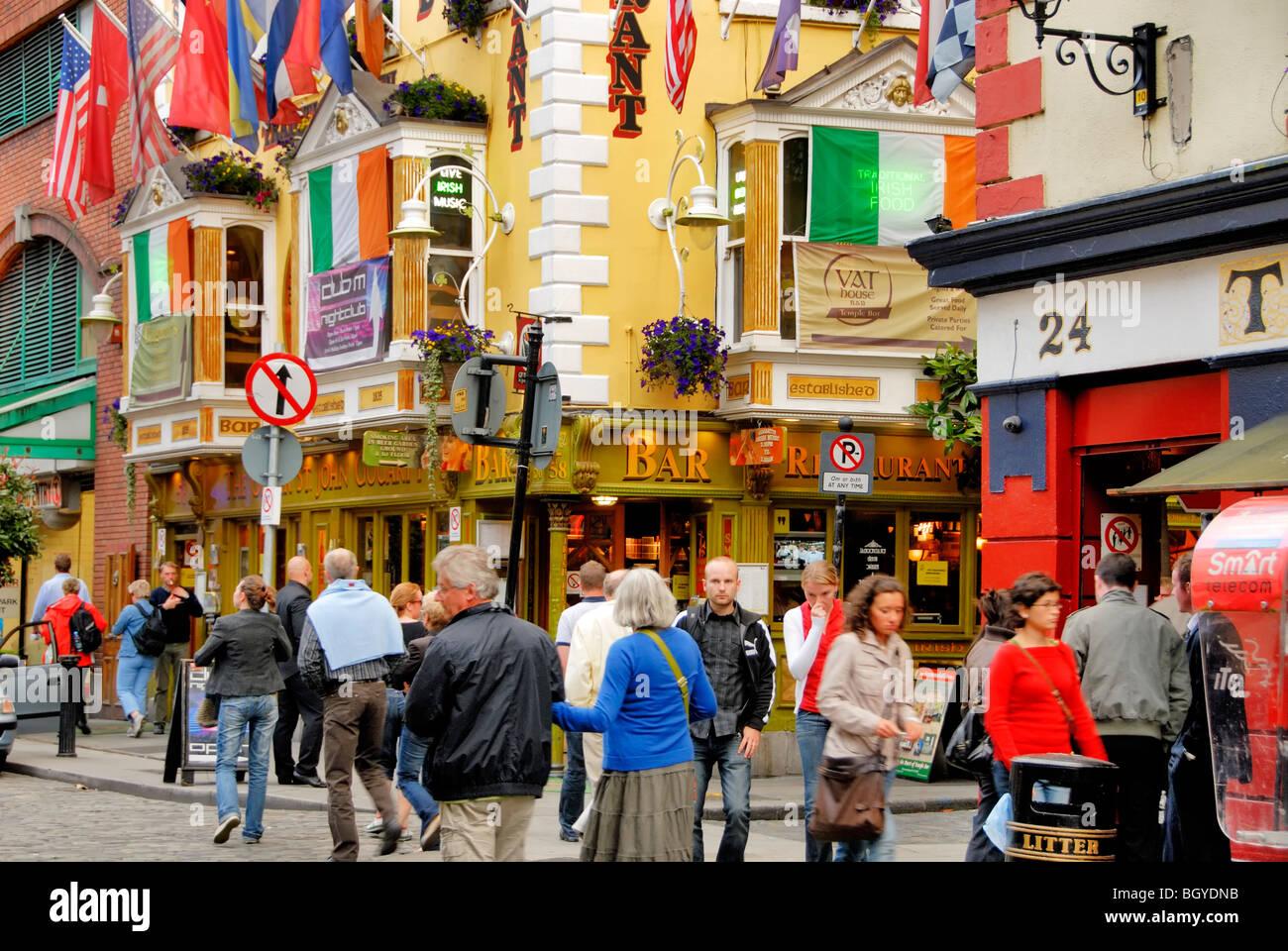 Temple Bar Street Dublin Ireland. - Stock Image