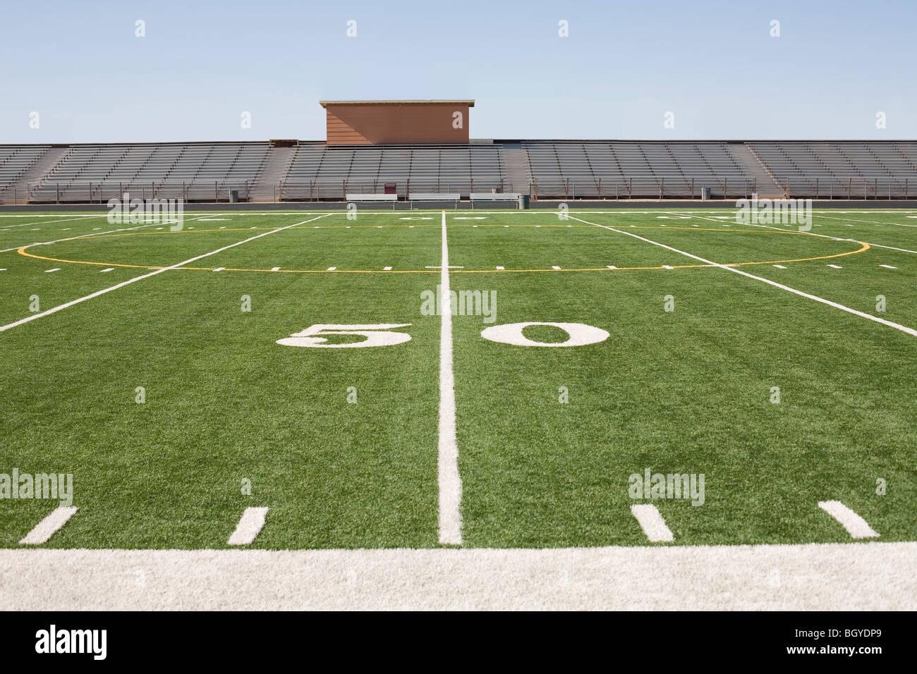 Football field and stadium - Stock Image