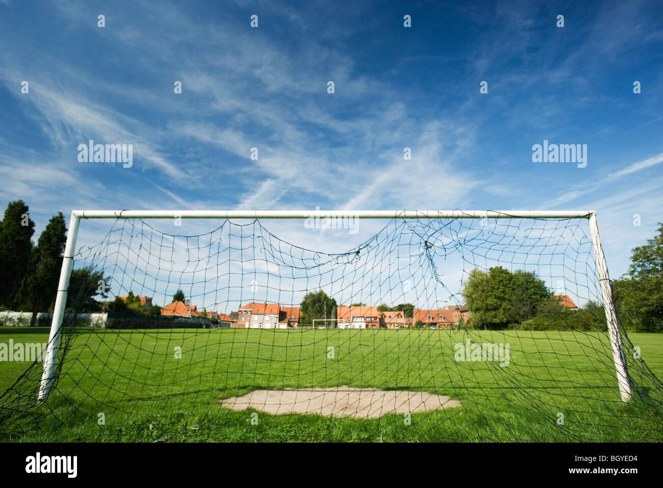 Soccer goal on soccer field - Stock Image