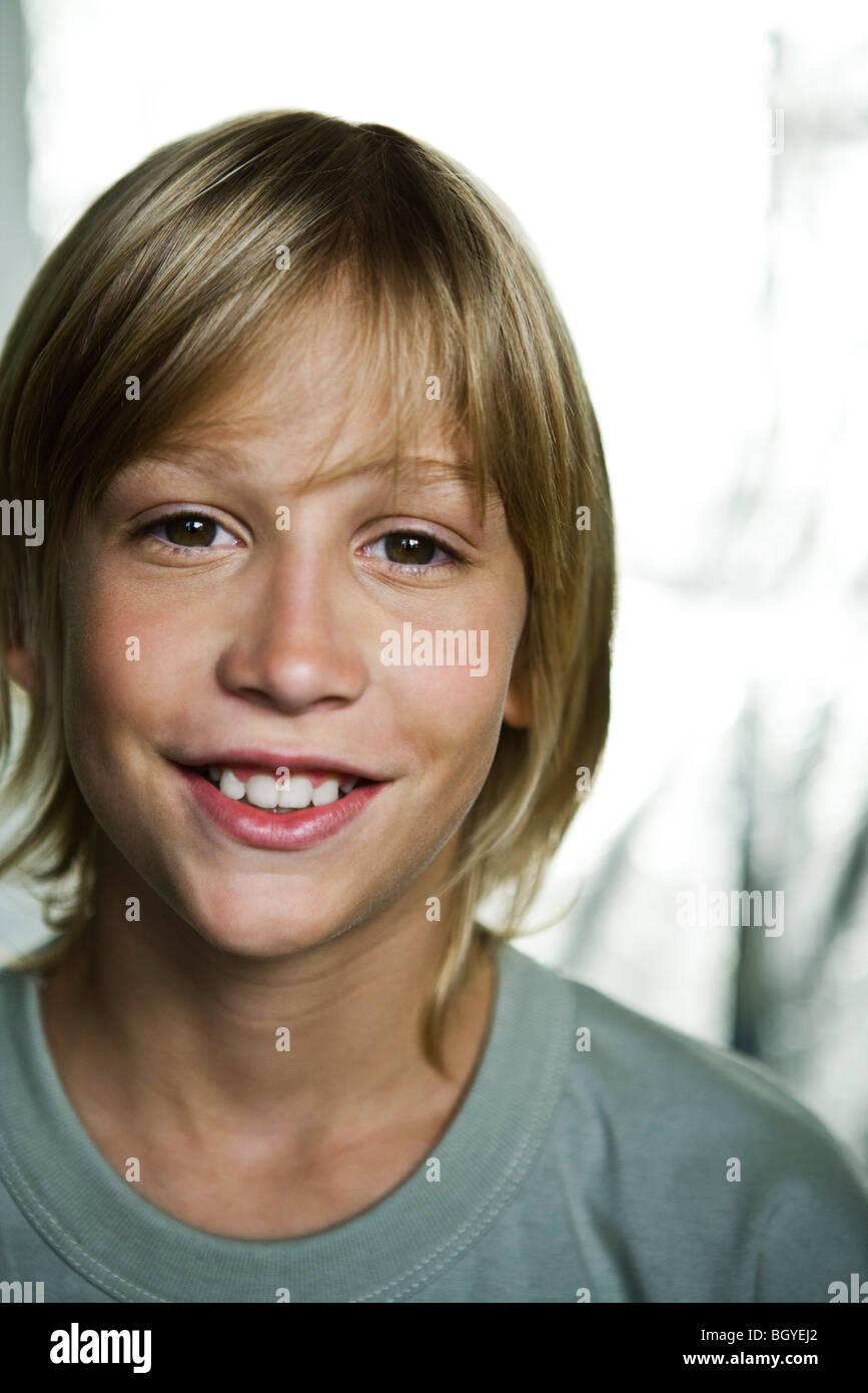 Preteen boy, portrait - Stock Image