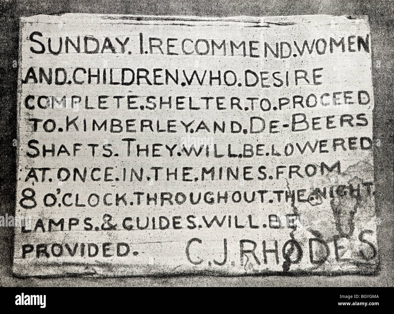 Placard erected by Cecil Rhodes during the bombardment of Kimberley, allowing women and children to shelter in Kimberley - Stock Image