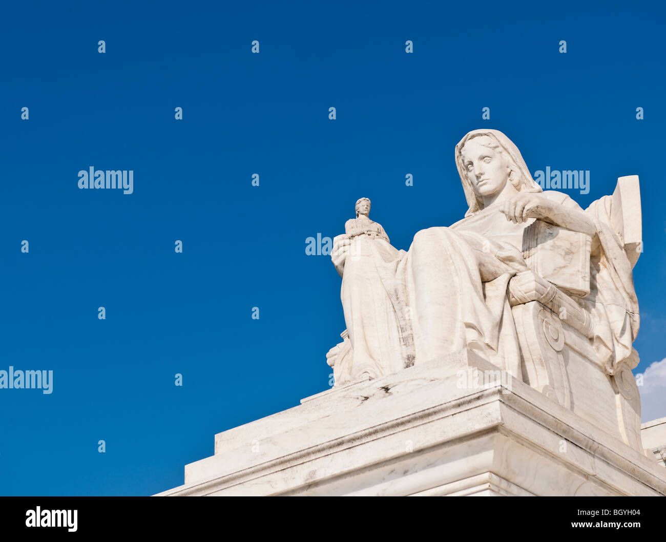 Contemplation of justice statue - Stock Image