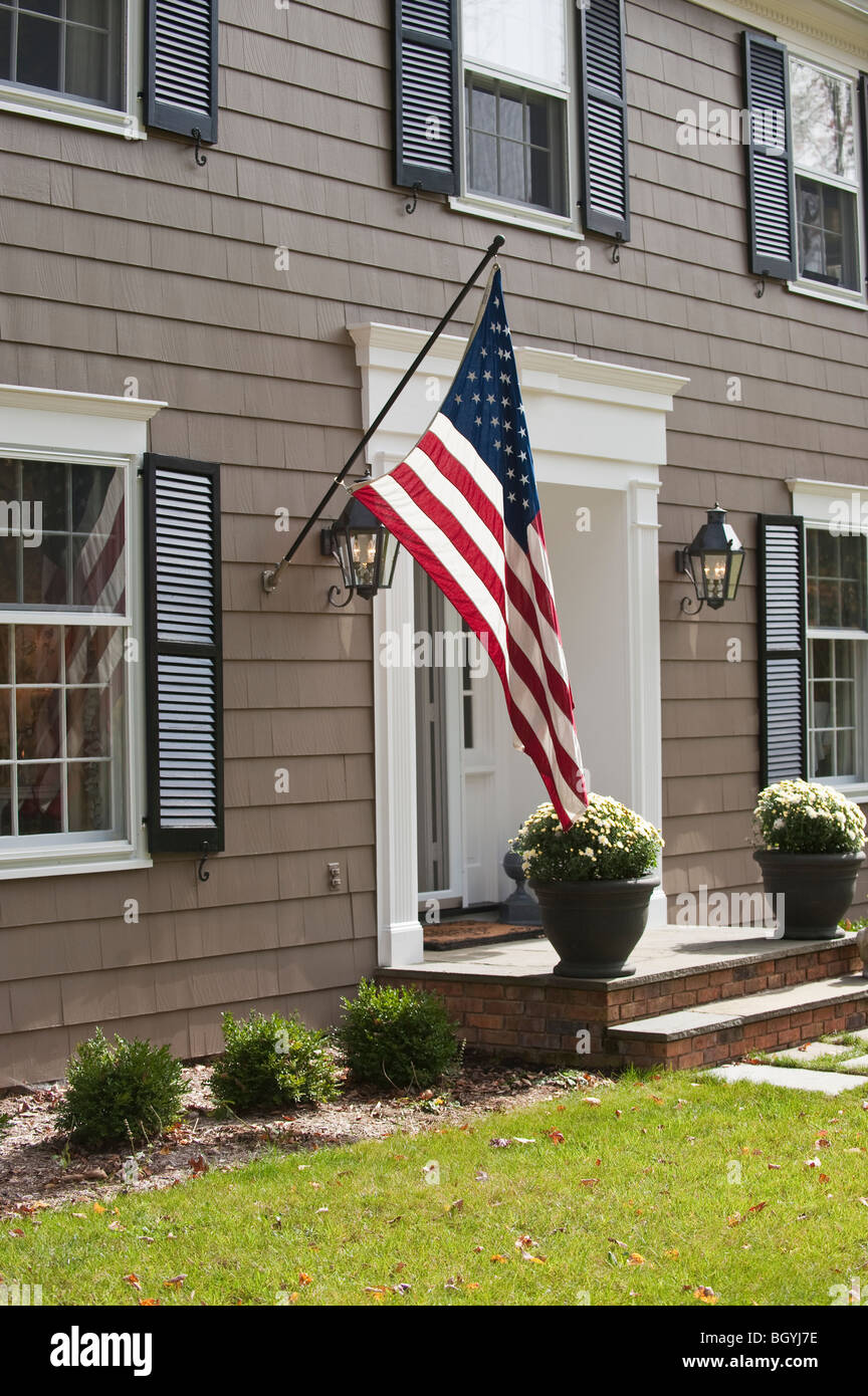 American Flag On House Stock Photo 27651890 Alamy