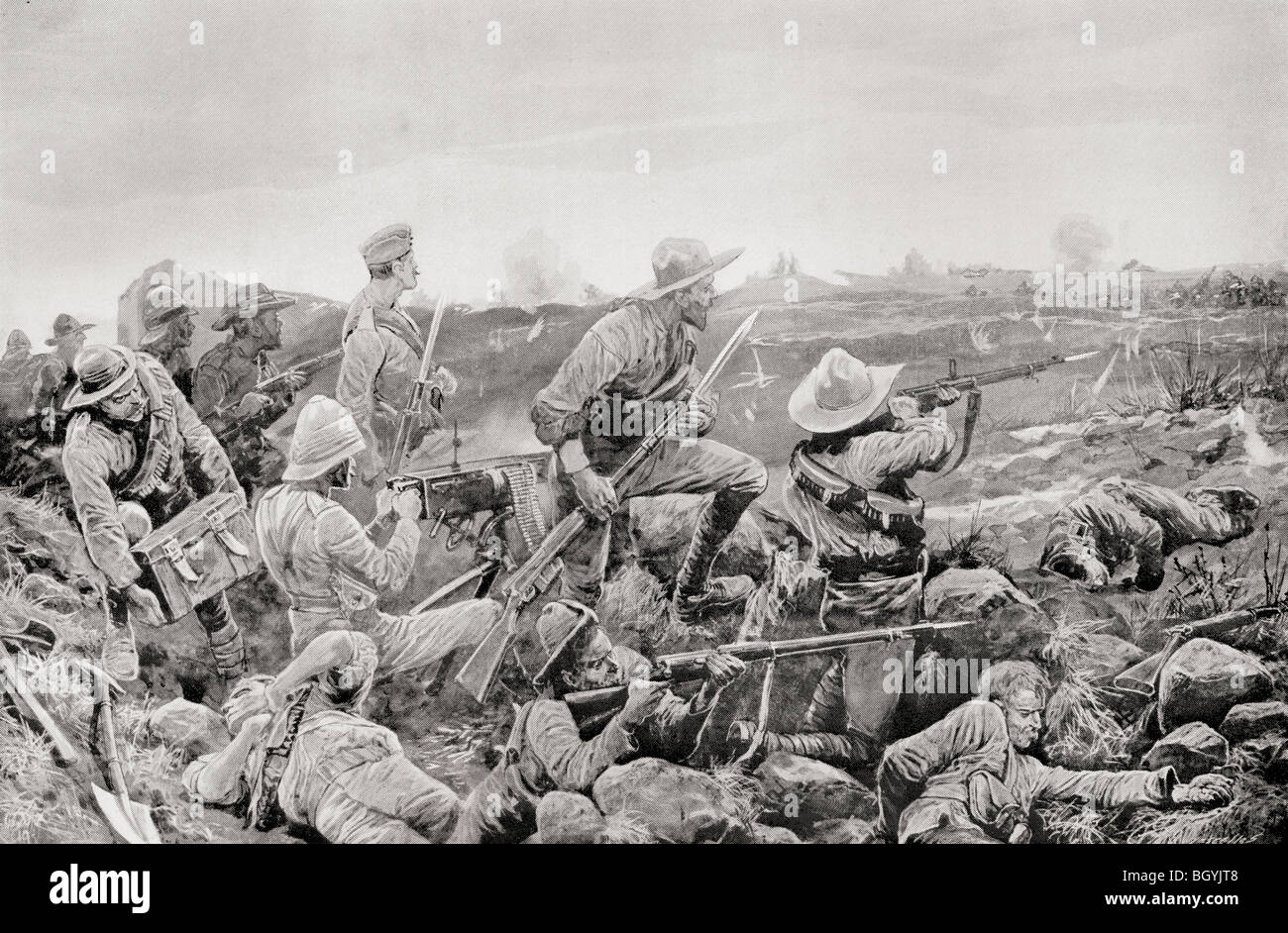 Defenders of Mafeking shooting from the trenches during The Second Boer War. - Stock Image