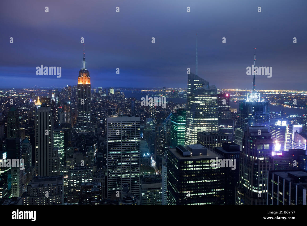 Night View of Midtown Manhattan from Top of the Rock - Stock Image