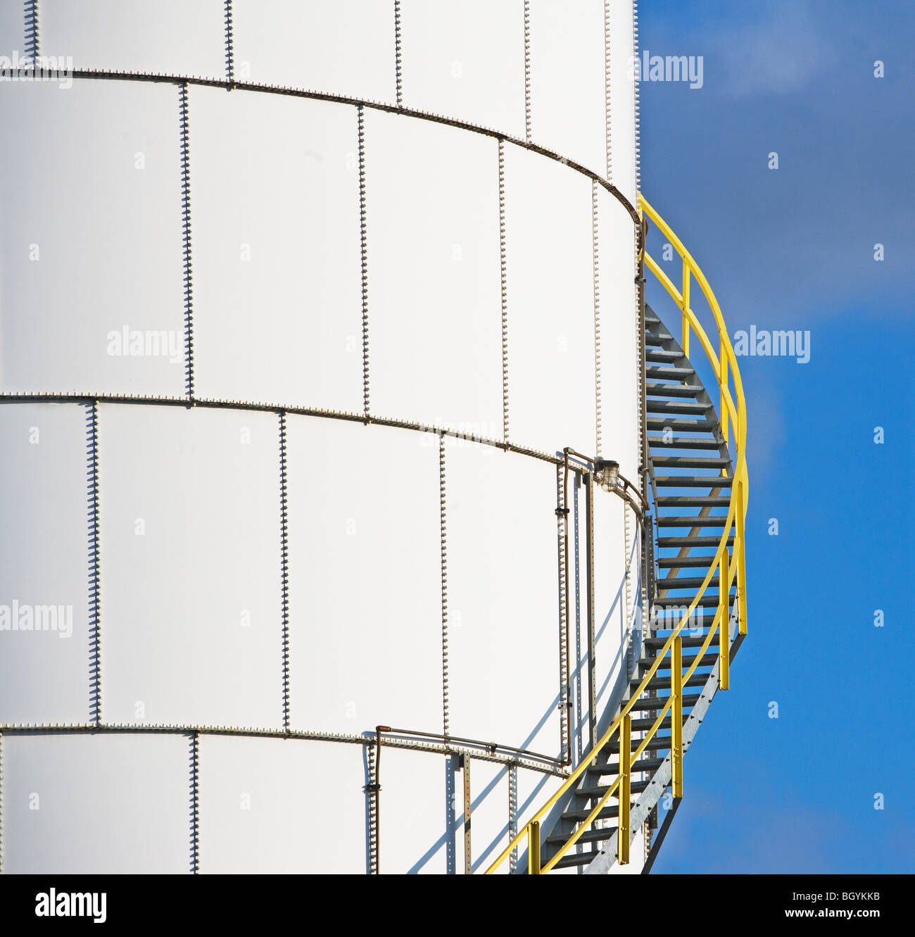 Steps on oil tank - Stock Image