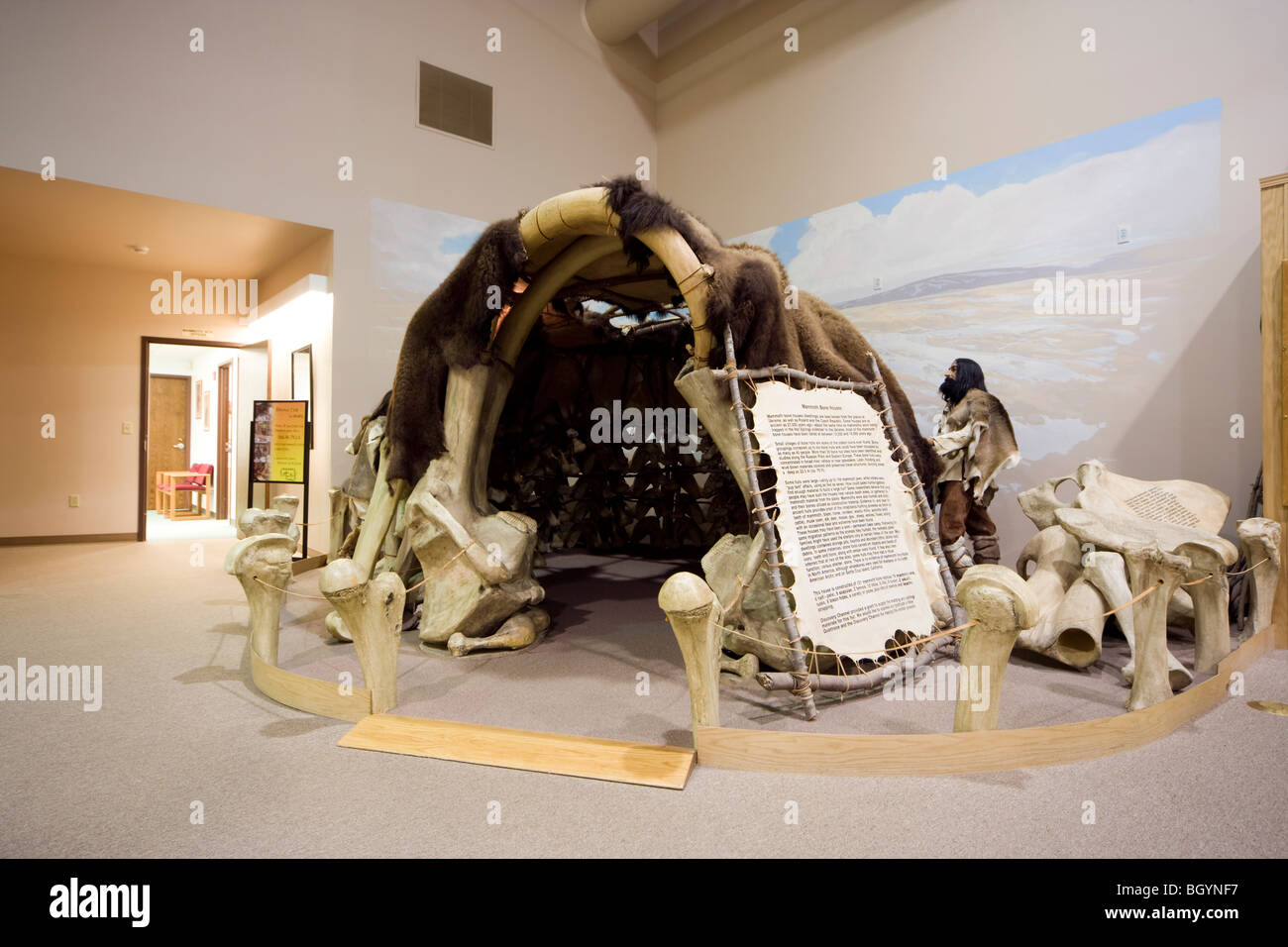 Ice Age Mammoth house hut dwelling shelter exhibit in the Mammoth Site Museum in Hot Springs, South Dakota, USA. - Stock Image