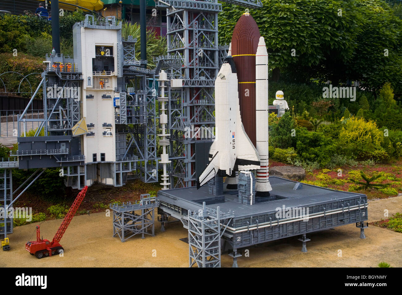 Space Shuttle on launch pad, Legoland Windsor - Stock Image
