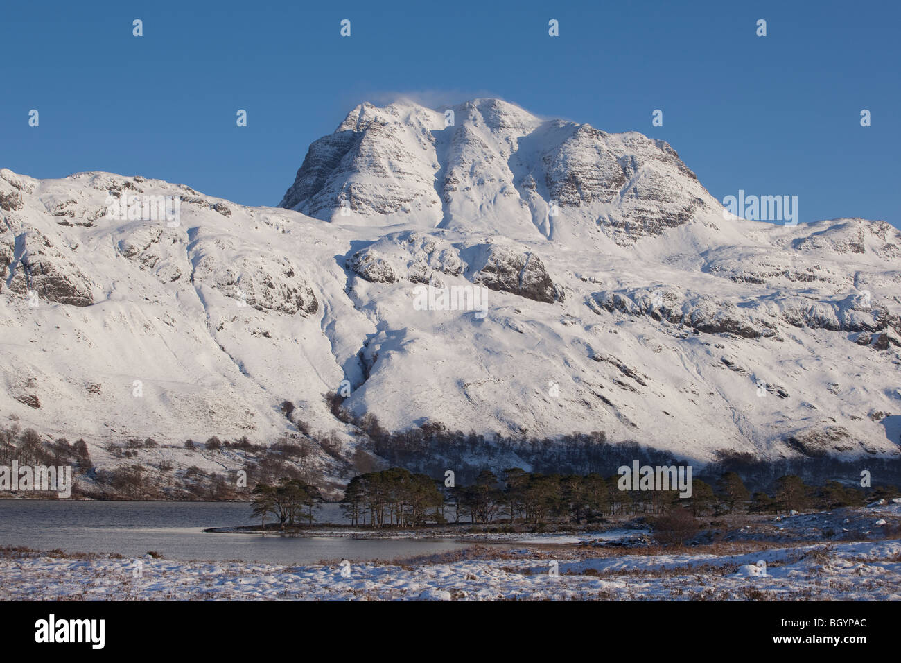 Slioch on the shores of Loch Maree Wester Ross Highlands of Scotland - Stock Image