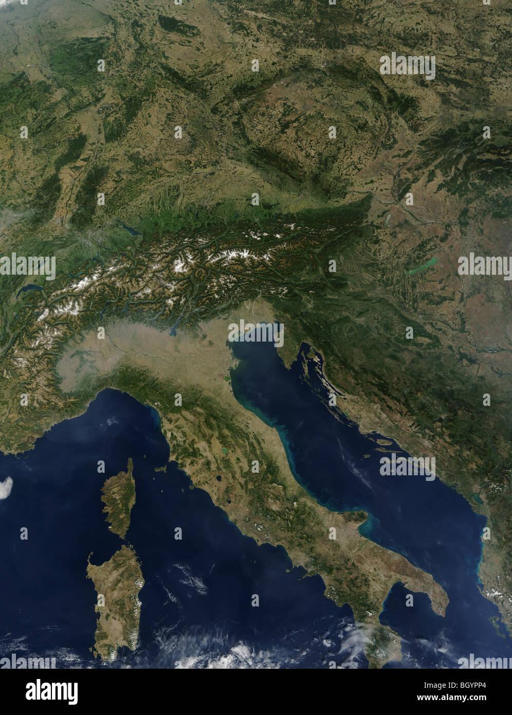 Satellite view of Italy credit NASA