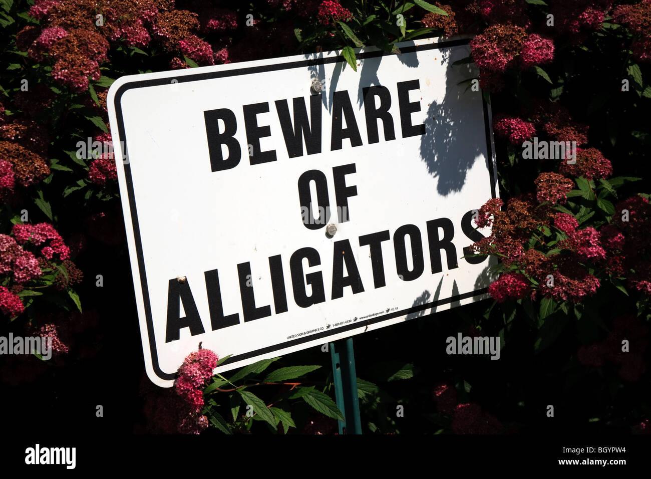 Beware of Alligators sign - Stock Image
