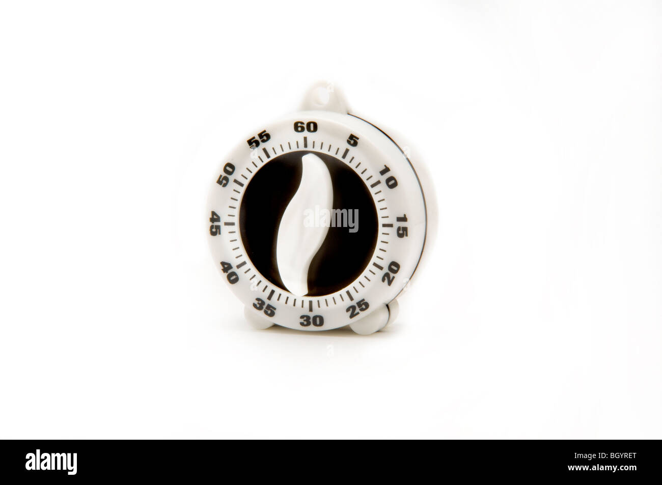egg minute timer on white - Stock Image