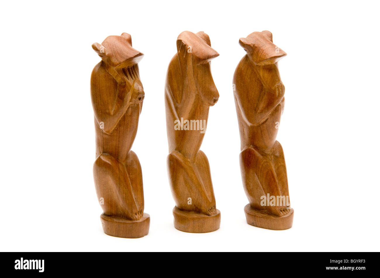 wooden carvings of monkeys see no evil - Stock Image