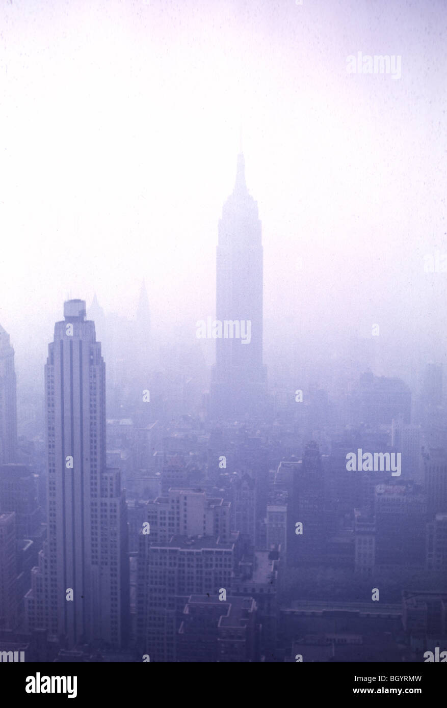 The Empire State building is seen from the 70th floor of the RCA city in New York City during August 1958. - Stock Image
