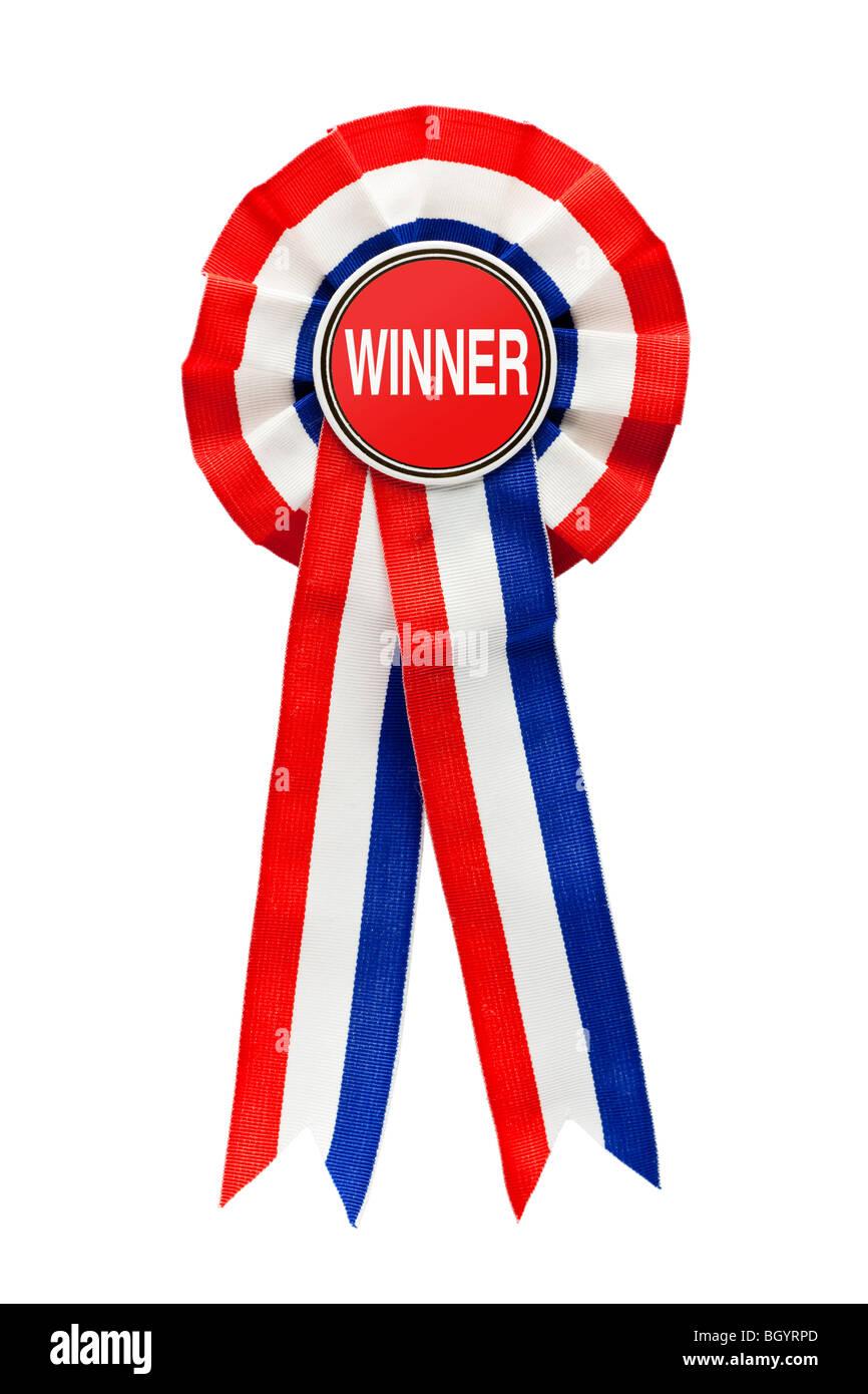 Rosette Ribbon for a Winner - Stock Image