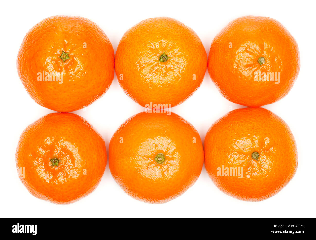 Six Clementines on white - Stock Image