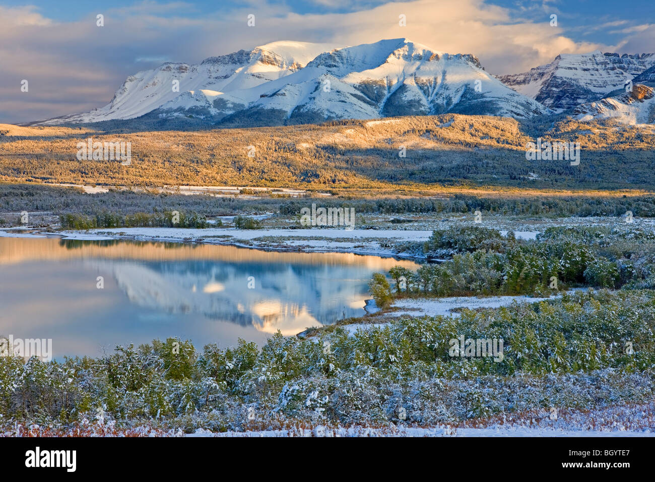 Lower Waterton Lake and the mountains of Waterton Lakes National Park (a UNESCO World Heritage Site & Biosphere - Stock Image