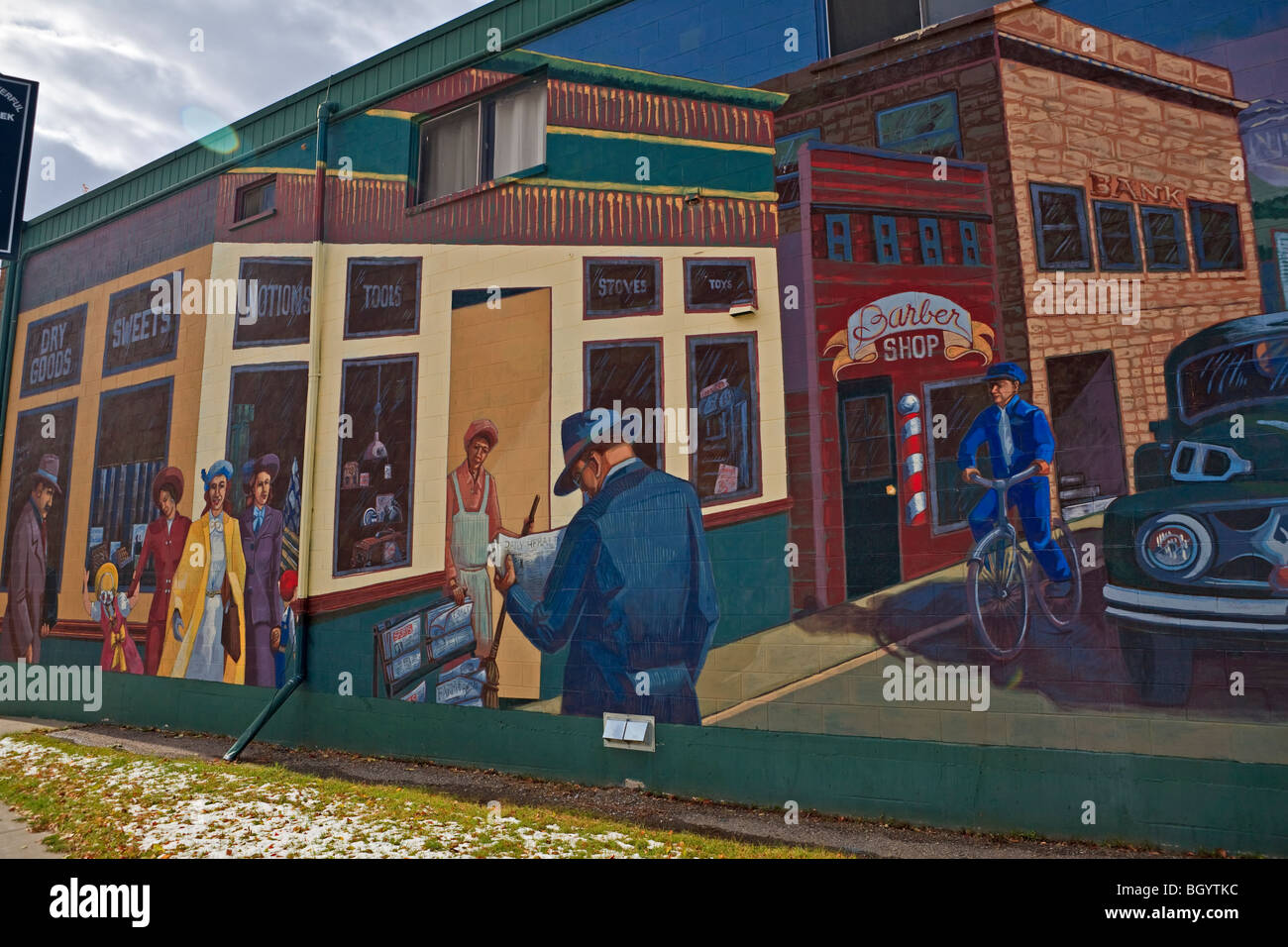 Wall mural on the side of a building in the town of Pincher Creek, Alberta, Canada. - Stock Image