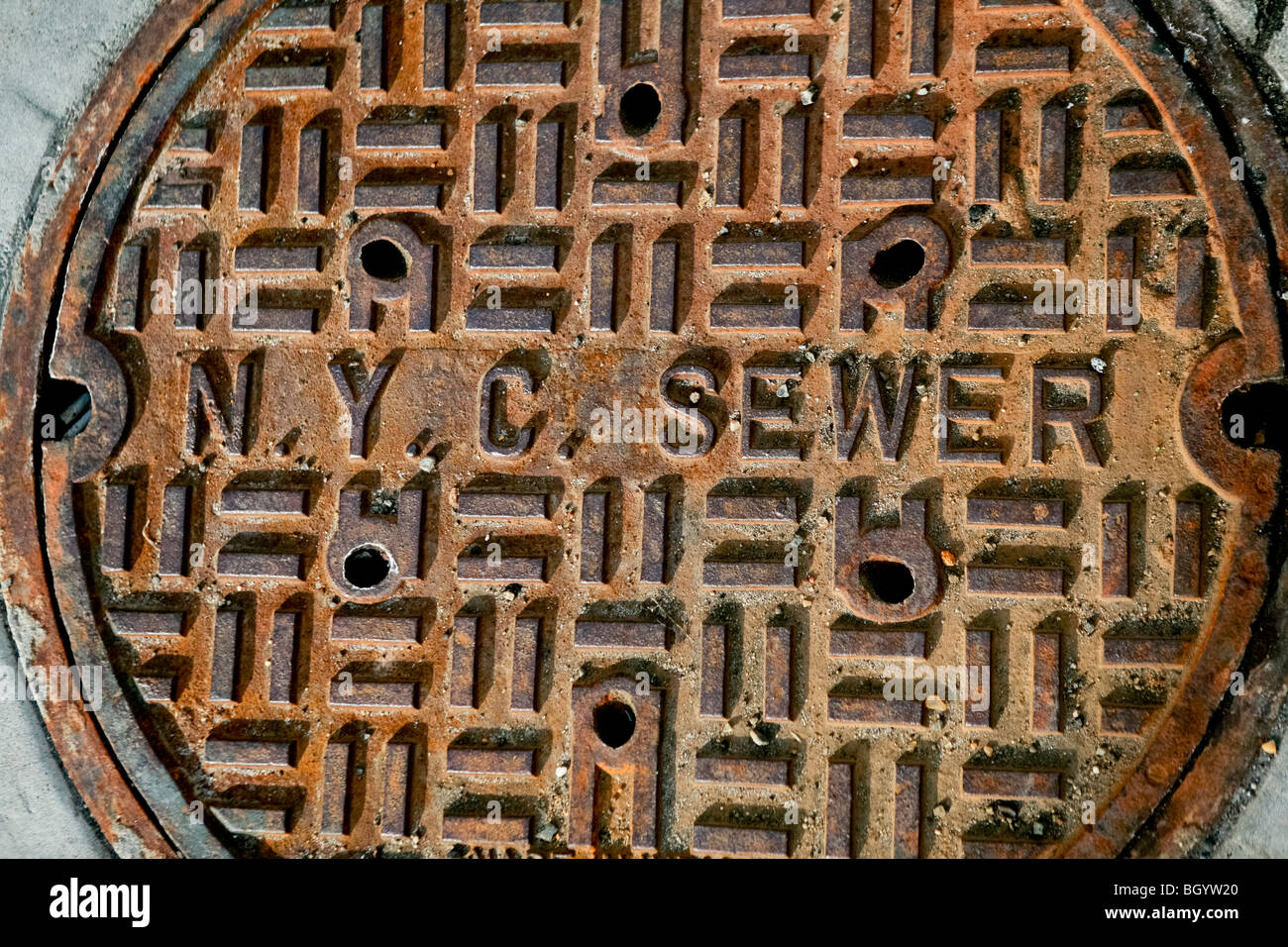 New York city sewer plate - Stock Image