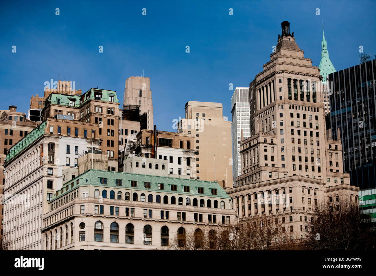 Downtown New York Architecture And Facade Of Old And Modern Stock