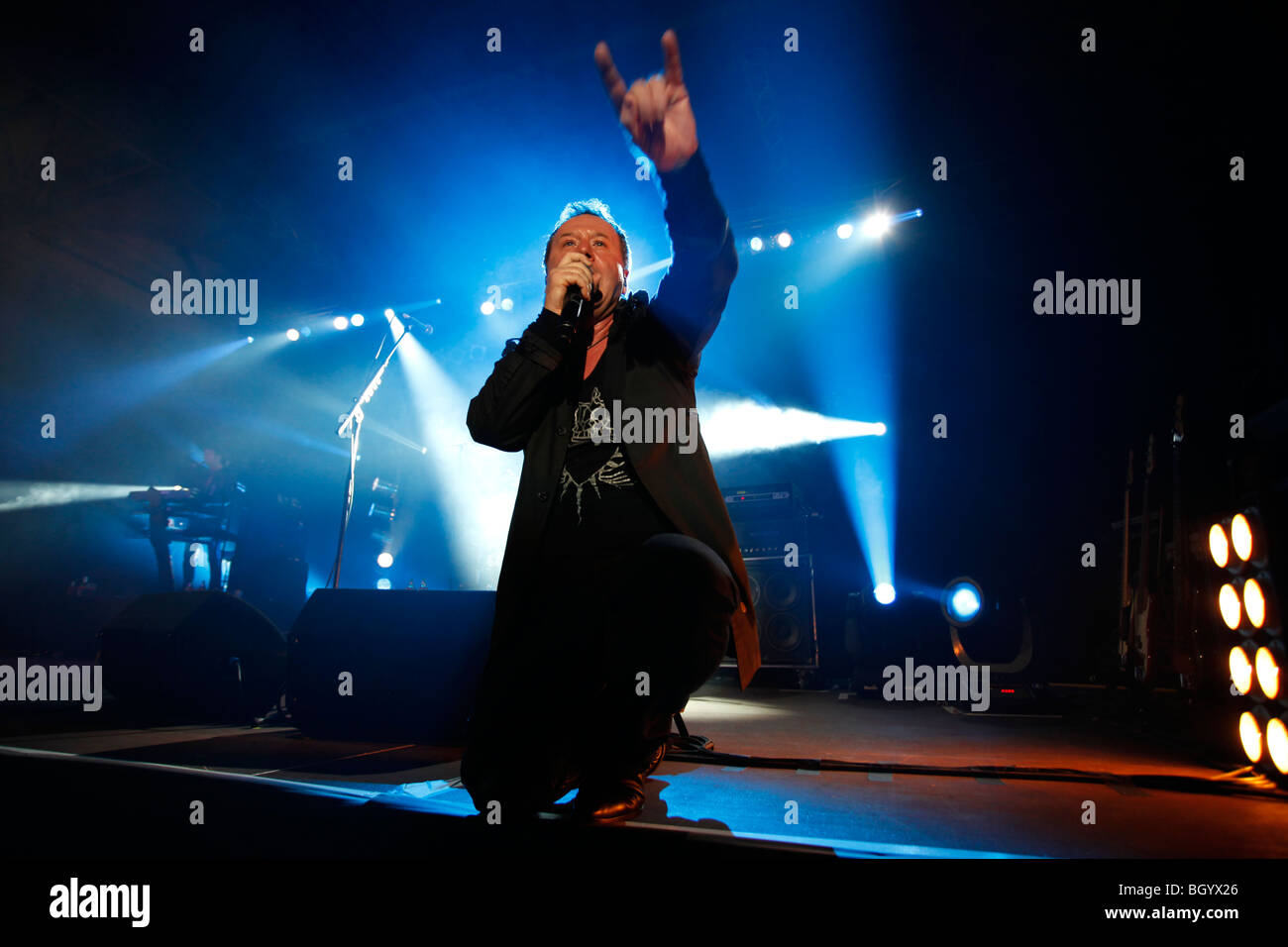 Jim Kerr, singer of the 1980's Scottish band, Simple Minds, performs along with the band in Banja Luka, on November - Stock Image
