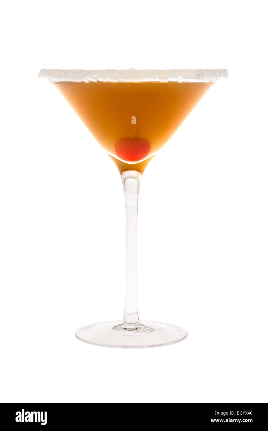 Amaretto Sour mixed drink with cherry on white background - Stock Image