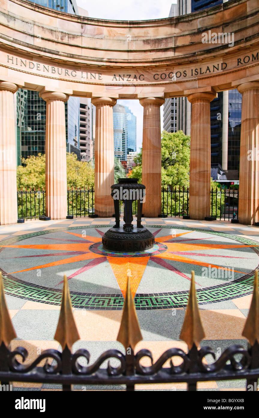BRISBANE, Australia - Brisbane's ANZAC War Memorial with eternal flame - Stock Image