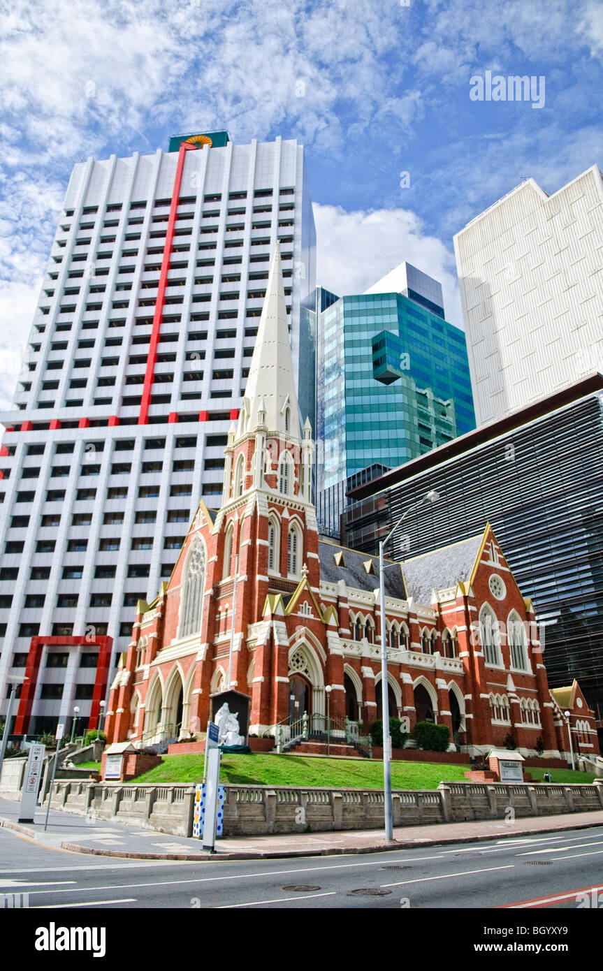 BRISBANE, Australia - Old and new architecture in Brisbane City with Albert Street United Church in the foreground - Stock Image