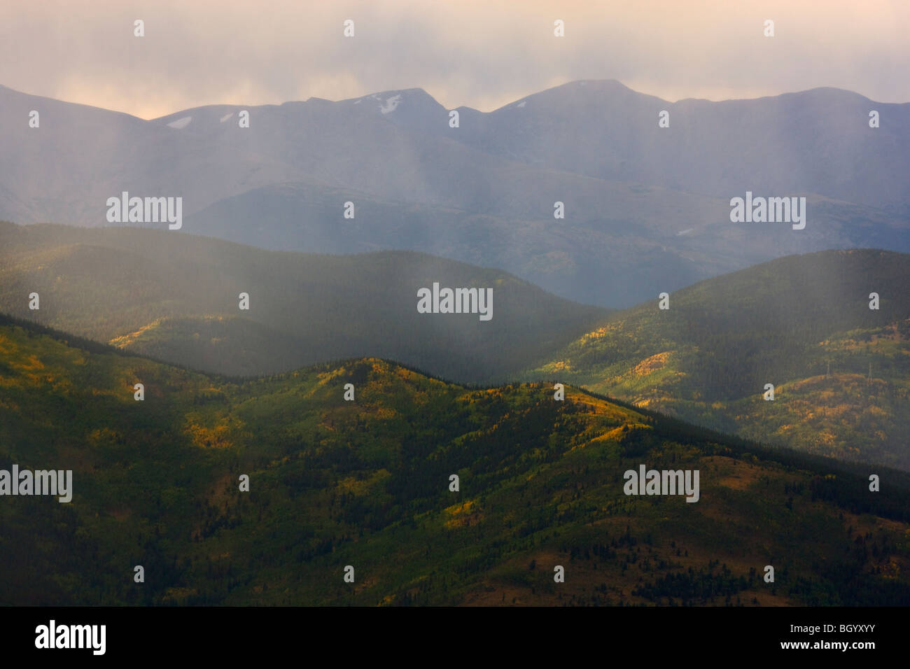 View of the Rocky Mountains from Mount Evans Recreation Area, Arapaho National Forest, Colorado. - Stock Image