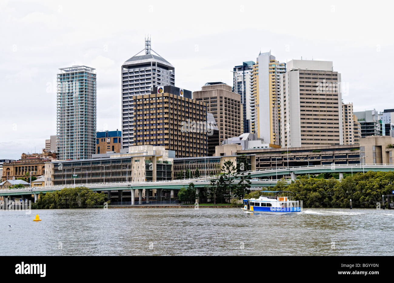 BRISBANE, Australia - Brisbane River and city skyline as seen from Southbank with the distinctive Southeast Freeway - Stock Image