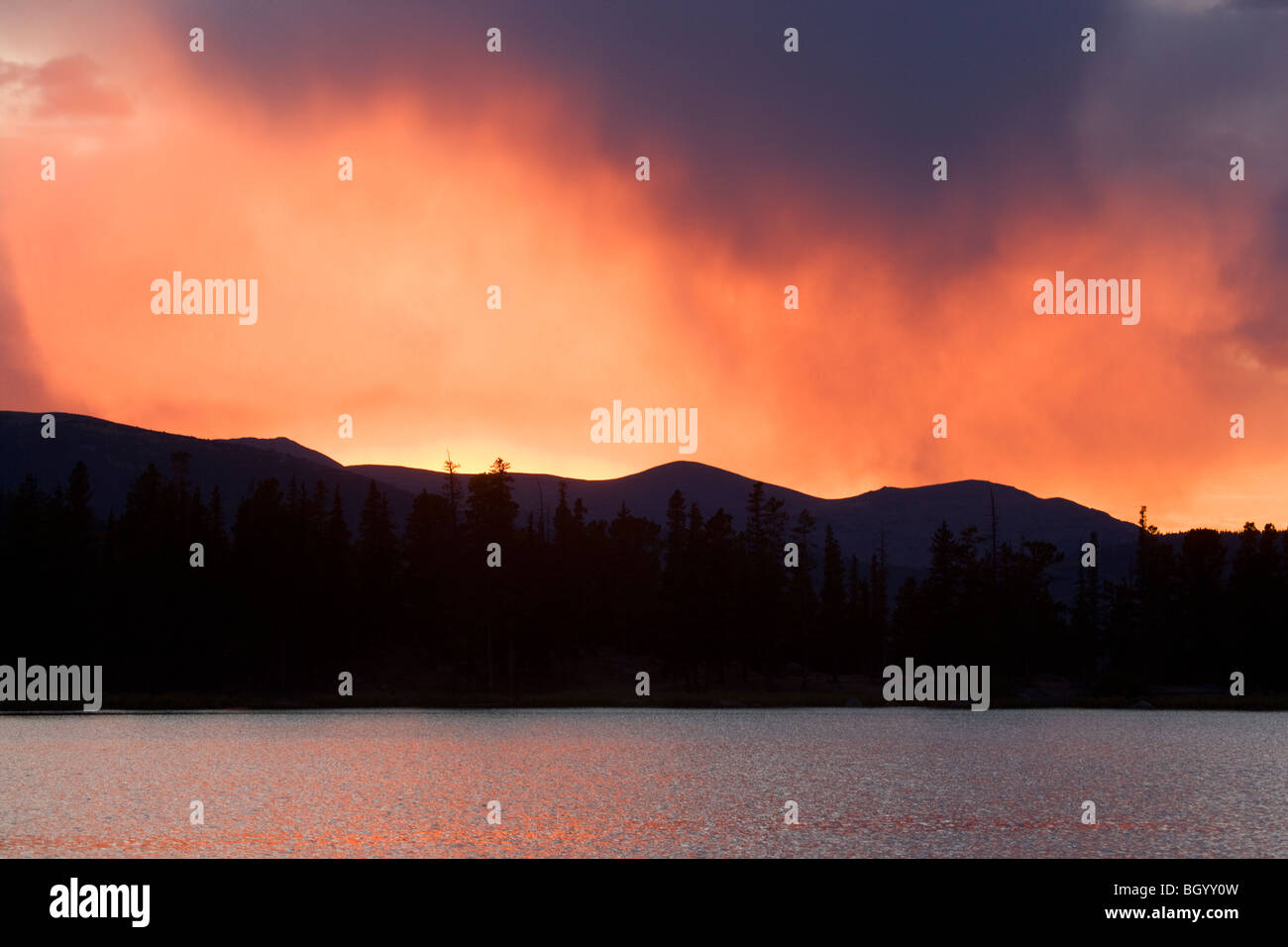 Sunset over Echo Lake, Mount Evans Recreation Area, Arapaho National Forest, Colorado. - Stock Image