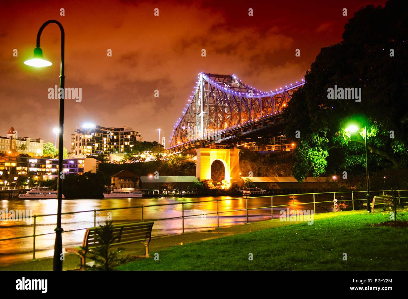BRISBANE, Australia - Brisbane's Story Bridge at night - Stock Image