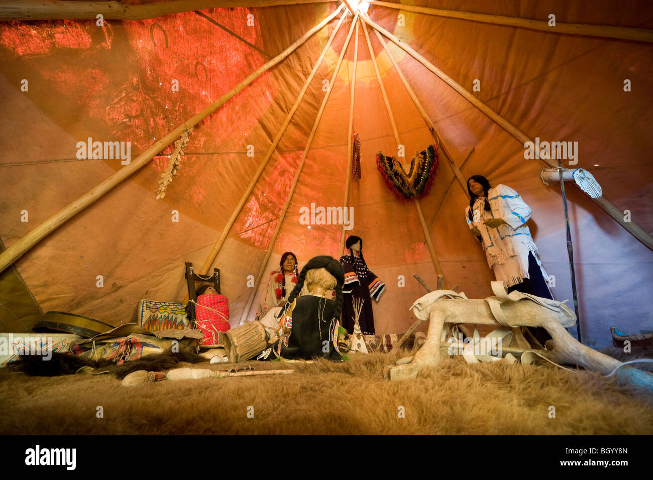 Inside a Lakota, Native American Tipi, Tepee, Teepee. Museum exhibit, display, at Crazy Horse Memorial, South Dakota. - Stock Image