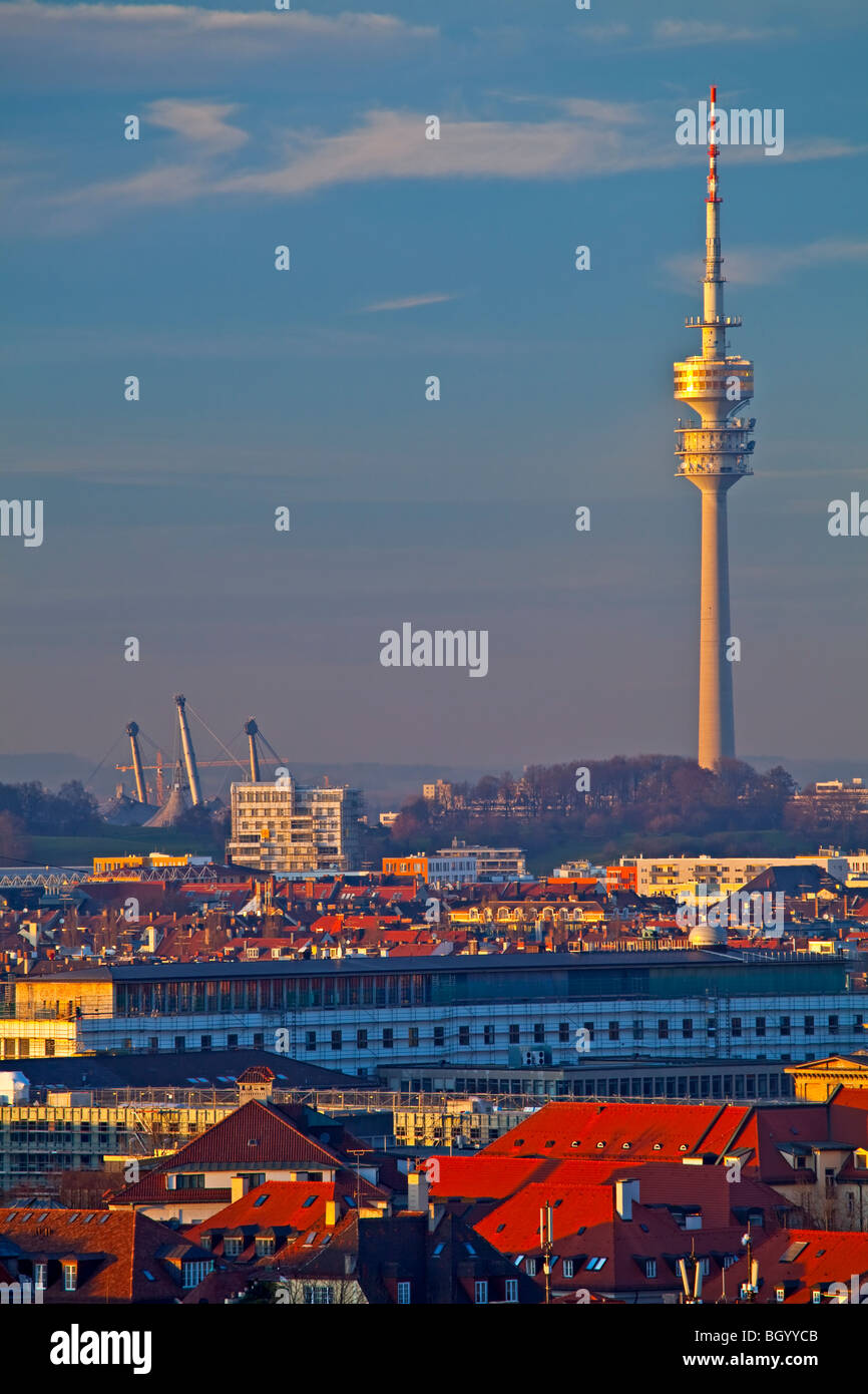 View towards the Olympiaturm (Olympic Tower), City of München (Munich) Bavaria, Germany, Europe. - Stock Image