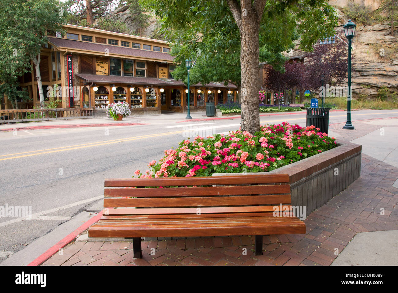 Estes Park, gateway to Rocky Mountain National Park, Colorado. - Stock Image