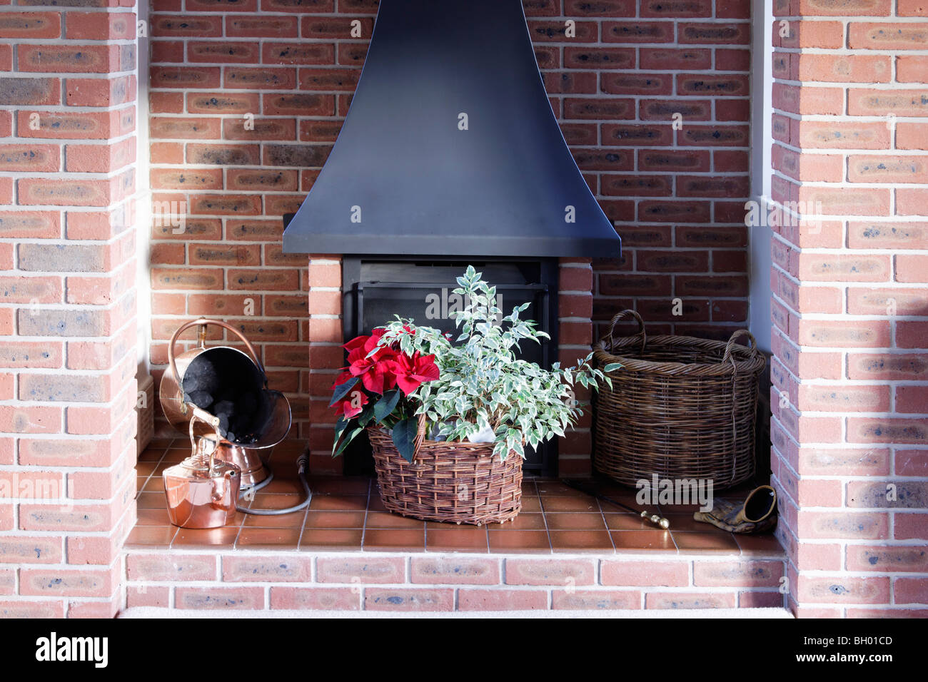 A fire place for burning wood or coal. - Stock Image