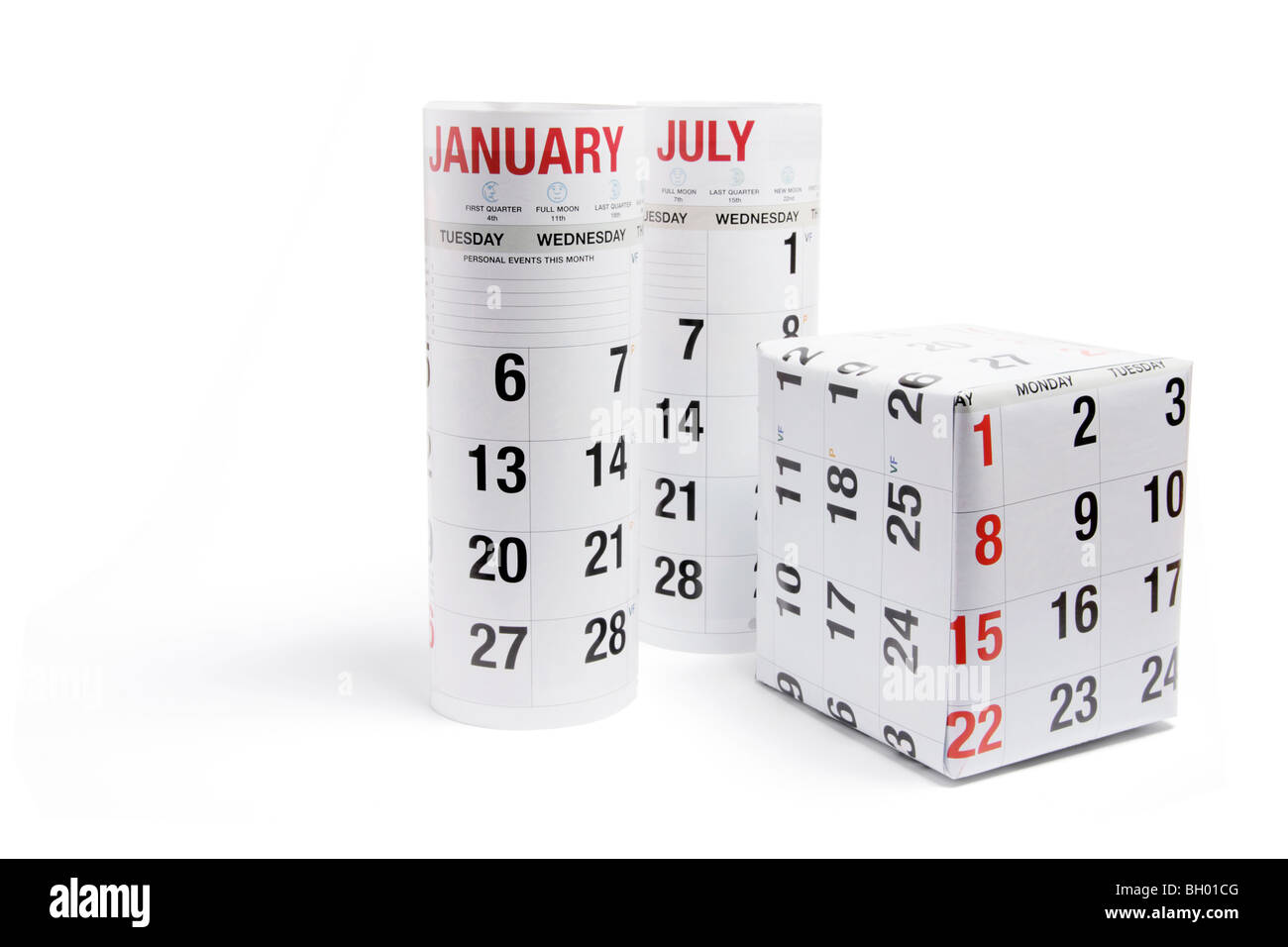 Gift Box Wrapped with Calendar Page - Stock Image