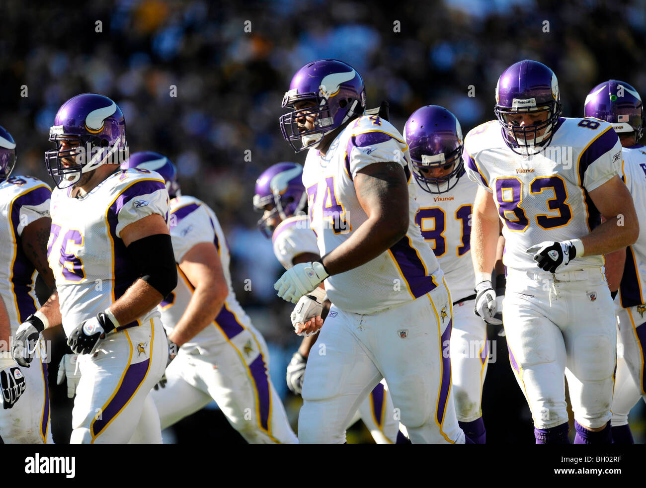 The Minnesota Vikings offense walk to the line of scrimmage - Stock Image f9ef207cb