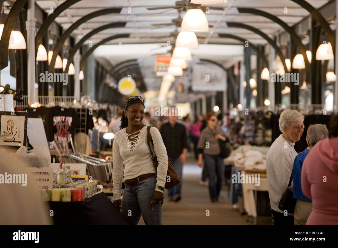Woman in French Market in French Quarter, New Orleans, Louisiana Stock Photo