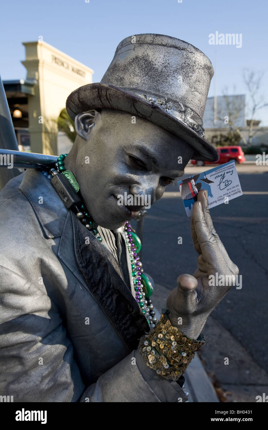 Mime street performer, French Quarter, New Orleans, Louisiana Stock Photo
