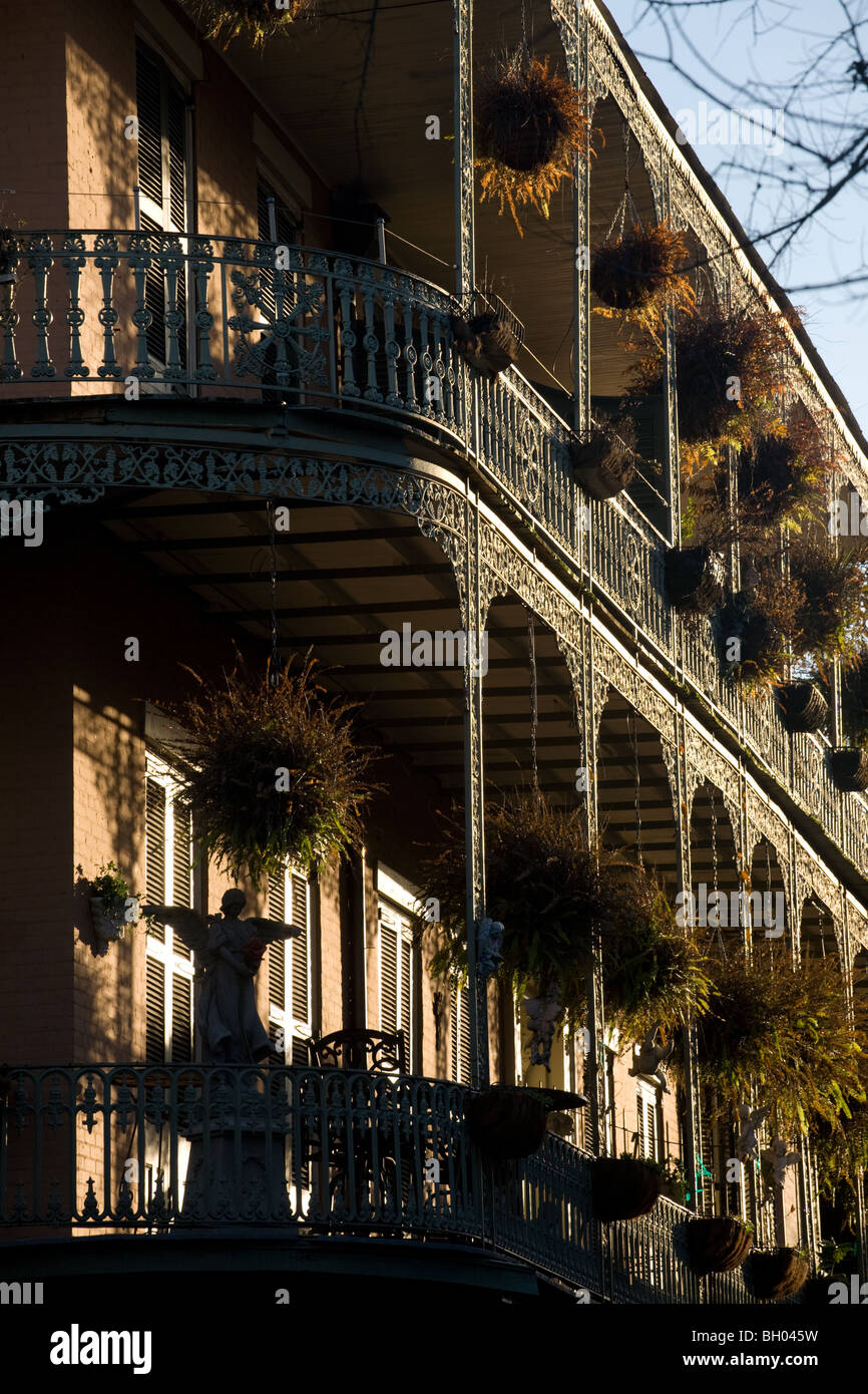 Wrought iron balconies of Royal Street, French Quarter, New Orleans, Louisiana - Stock Image