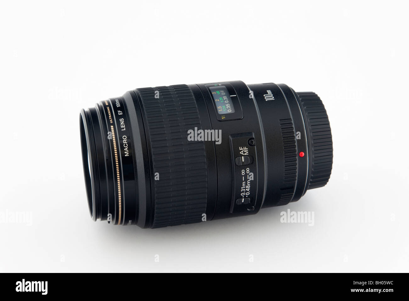 Unbranded Canon 100mm macro camera lens on white background - Stock Image