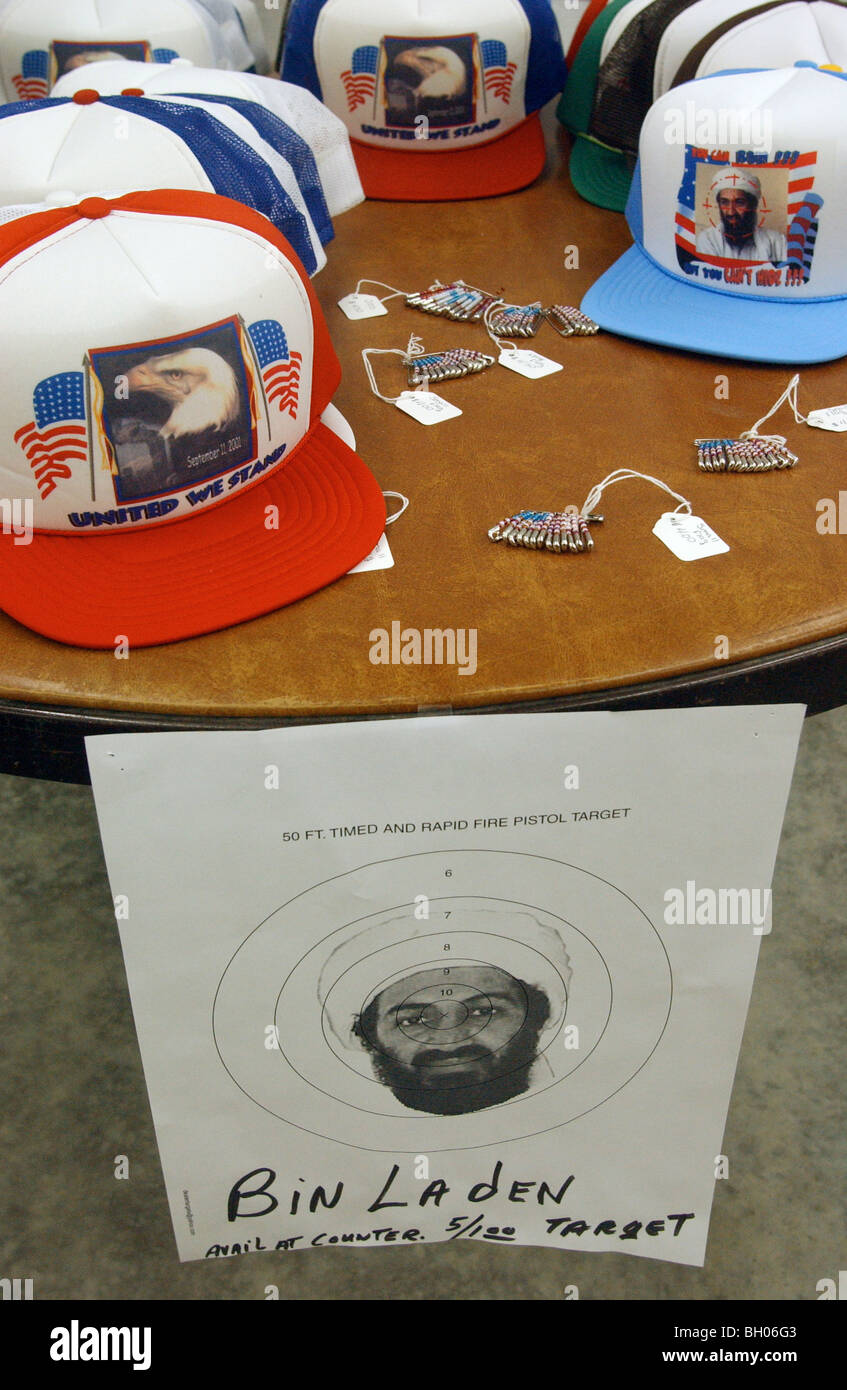 Osama Bin Laden targets and patriotic hats are for sale at