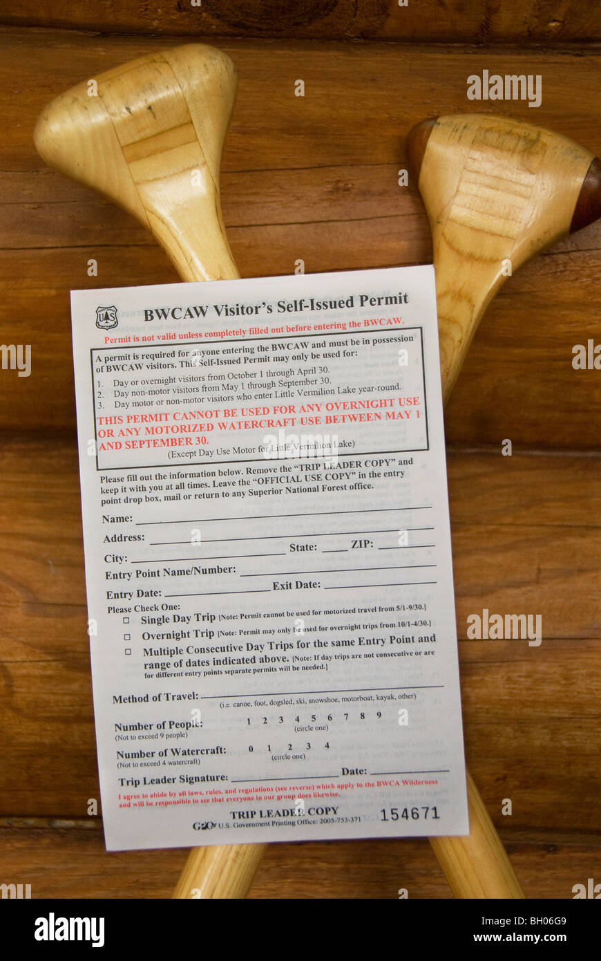 Day use self issued travel permit for the Boundary waters canoe area wilderness - Stock Image