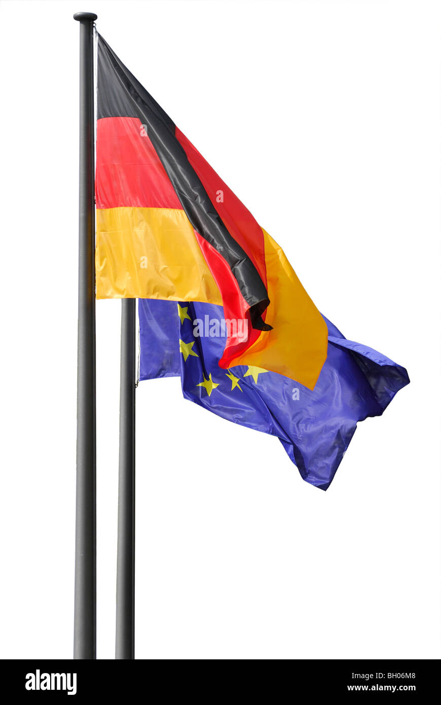 Two flags of Germany and EU. Berlin, Germany - Stock Image