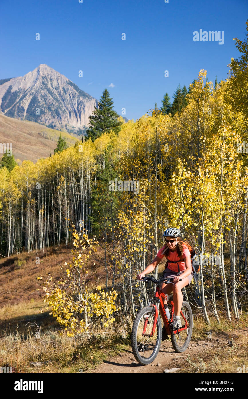 Mountain biking on the Upper and Lower Loop, Crested Butte, Colorado. (model released) - Stock Image
