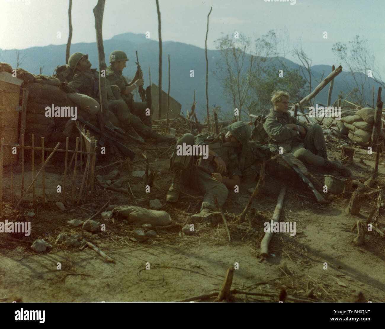 Members of the 2nd Battalion, 7th Infantry, 1st Cavalry Division rest after breaking down the equipment on Landing - Stock Image