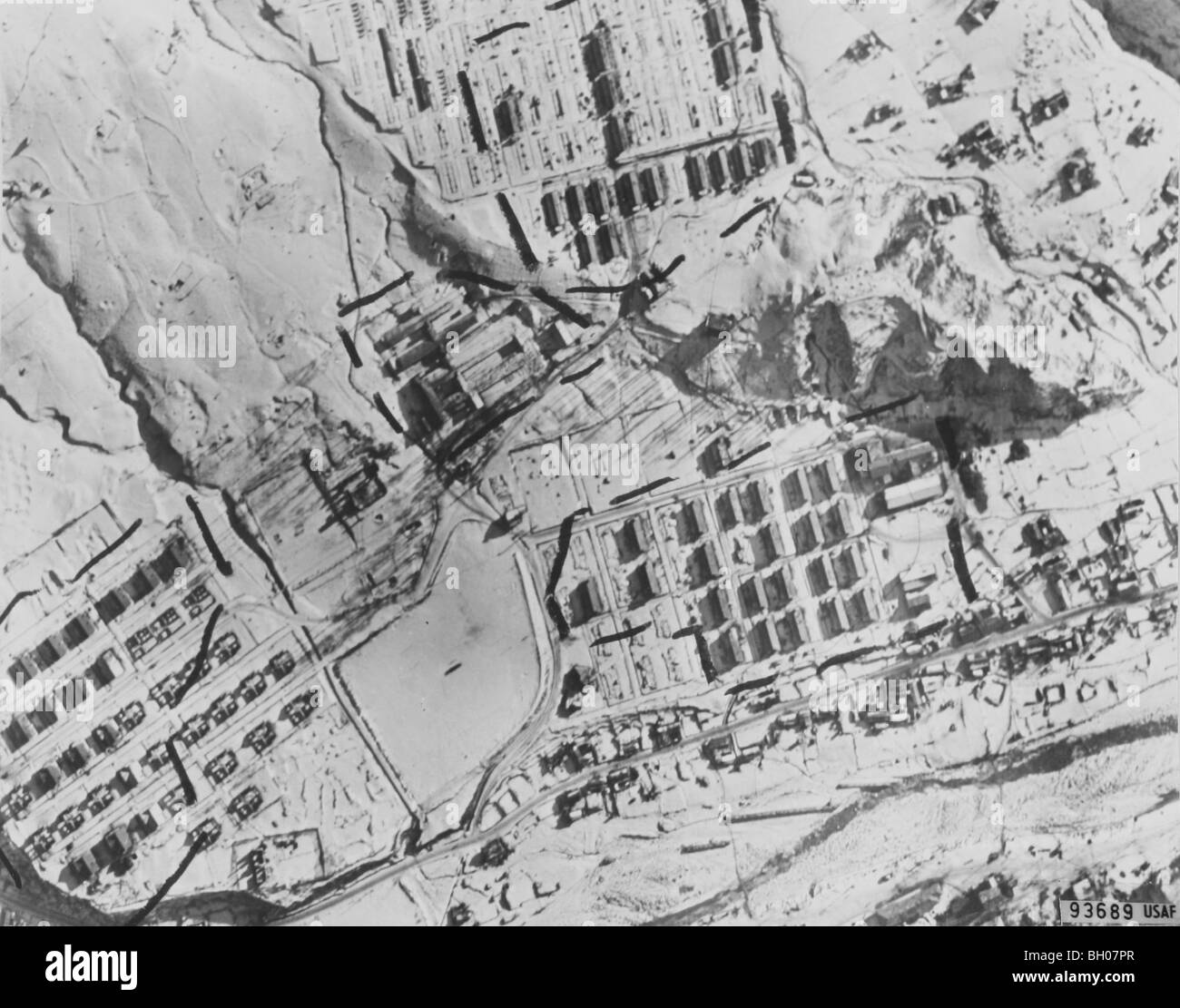 Numerous barrack buildings in this aerial photo from Air Force RB-29 reconnaissance aircraft indicate area could - Stock Image
