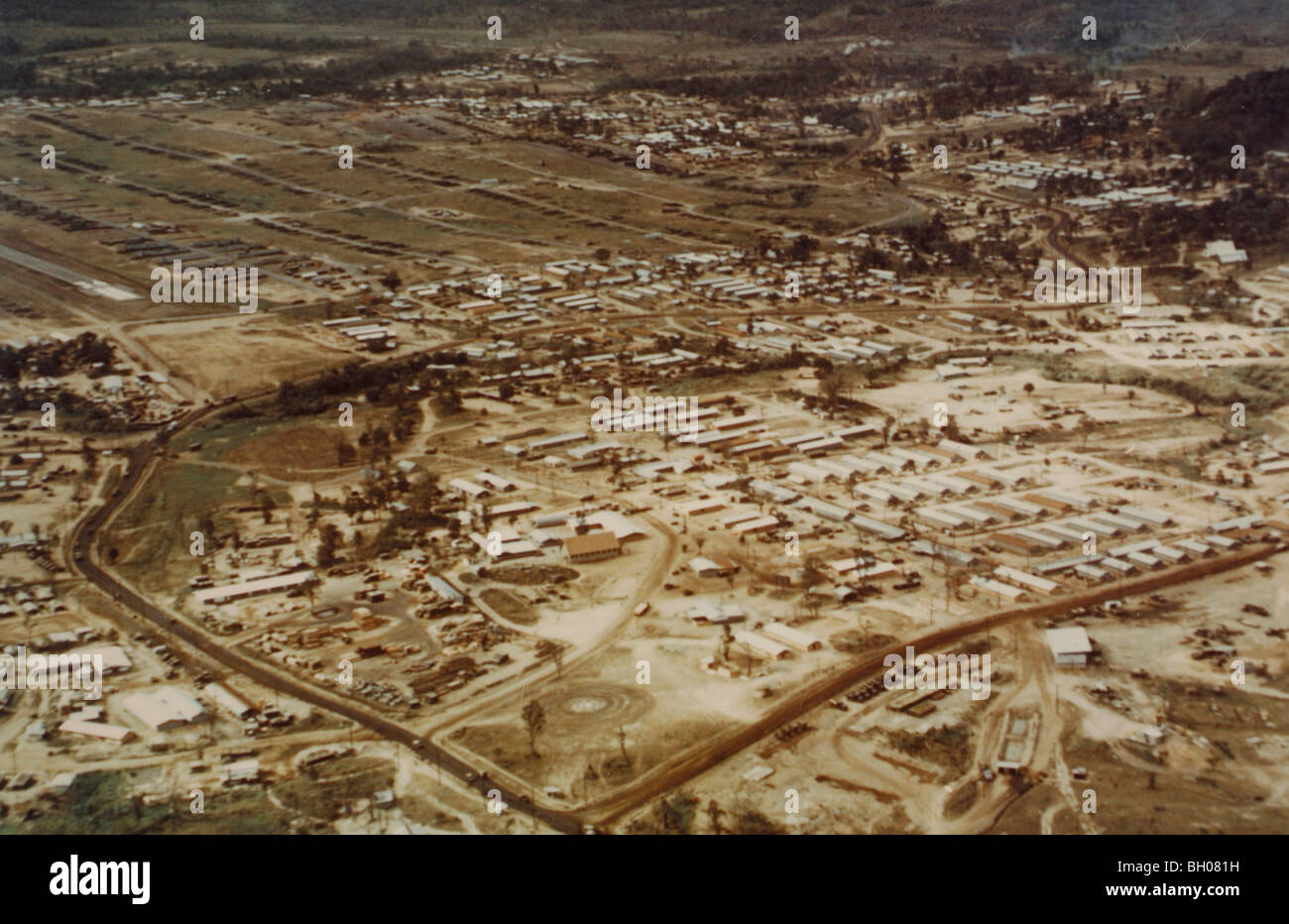 Aerial view of the southern end of the catonment of the 1st Cavalry Division at An Khe. - Stock Image